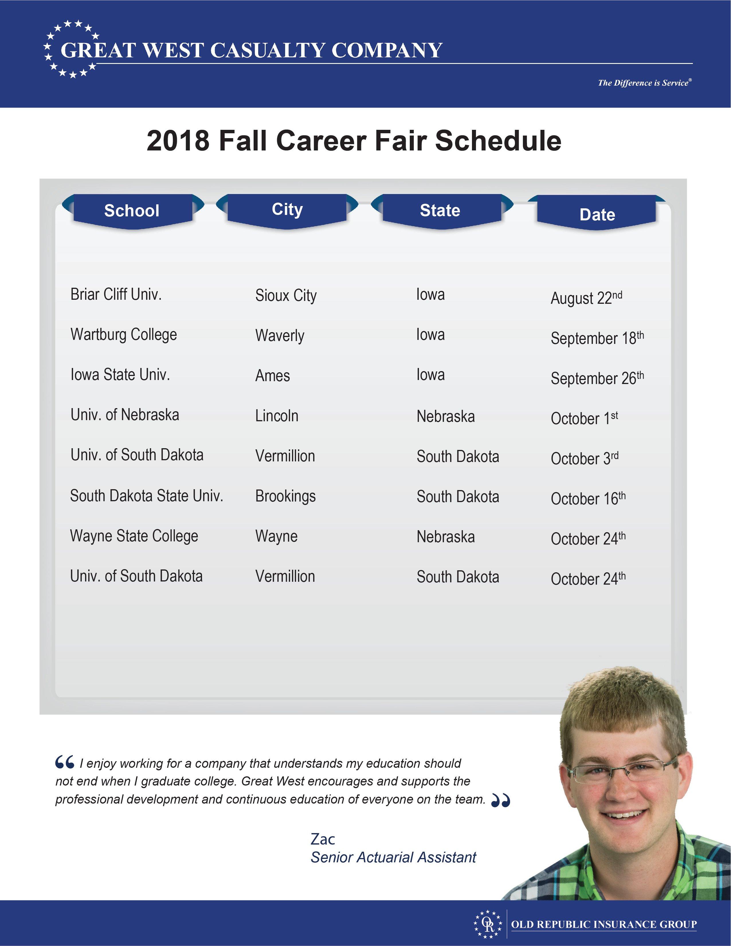 Great West Casualty Company HR Career Fair 2018 Schedule.jpg