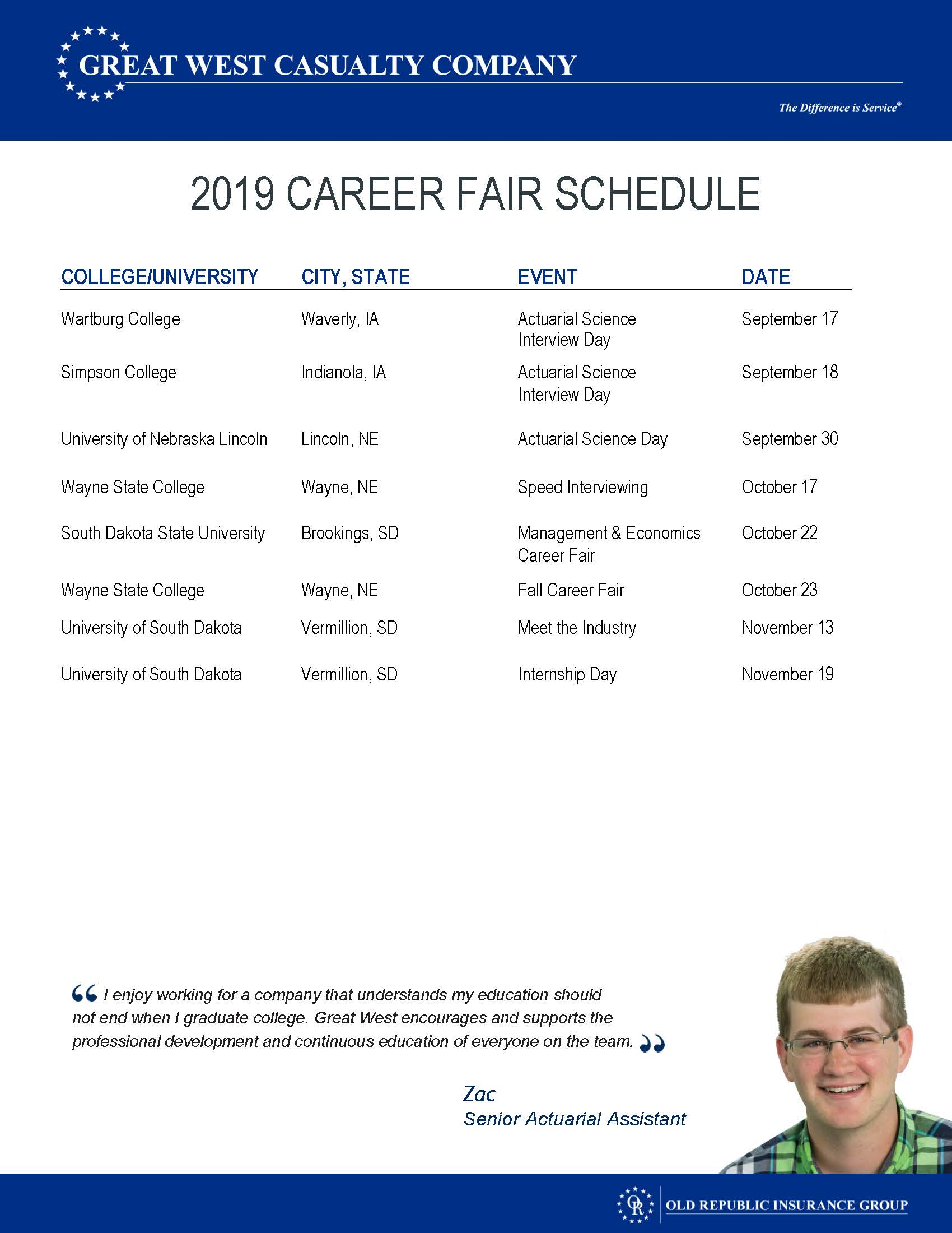 HR Career Fair Schedule 2019